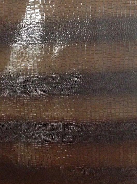 pelle di vitello stampa coccodrillo marrone