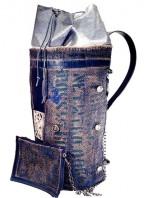 zaino uomo grande in tuta riciclata e pelle blu