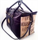 borsa elegante da viaggio da donna in juta e pelle